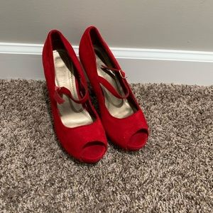 Red Suede Open Toe Pumps